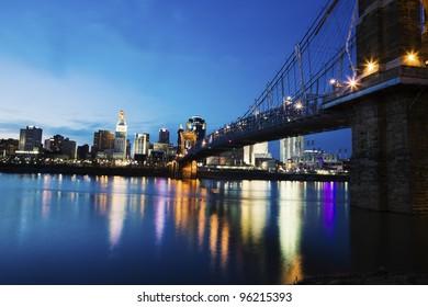 Cincinnati seen accross Ohio River at sunset