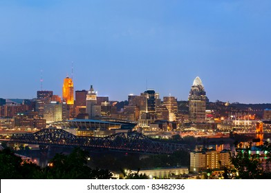 Cincinnati skyline. Aerial view of Cincinnati downtown at twilight.