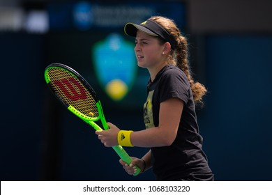 CINCINNATI, UNITED STATES - AUGUST 13 : Jelena Ostapenko of Latvia at the 2017 Western & Southern Open WTA Premier 5 tennis tournament