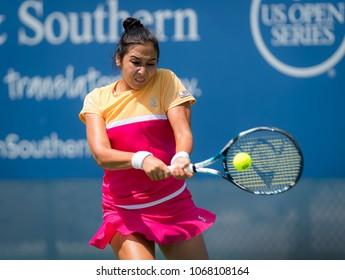 CINCINNATI, UNITED STATES - AUGUST 13 : Zarina Diyas of Kazakhstan at the 2017 Western & Southern Open WTA Premier 5 tennis tournament