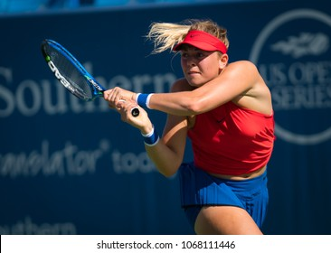 CINCINNATI, UNITED STATES - AUGUST 13 : Carina Witthoeft of Germany at the 2017 Western & Southern Open WTA Premier 5 tennis tournament