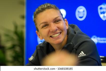 CINCINNATI, UNITED STATES - AUGUST 14 : Simona Halep of Romania at the 2017 Western & Southern Open WTA Premier 5 tennis tournament
