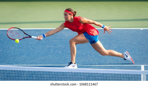 CINCINNATI, UNITED STATES - AUGUST 15 : Caroline Garcia of France at the 2017 Western & Southern Open WTA Premier 5 tennis tournament