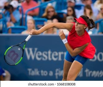 CINCINNATI, UNITED STATES - AUGUST 16 : Natalia Vikhlyantseva of Russia at the 2017 Western & Southern Open WTA Premier 5 tennis tournament