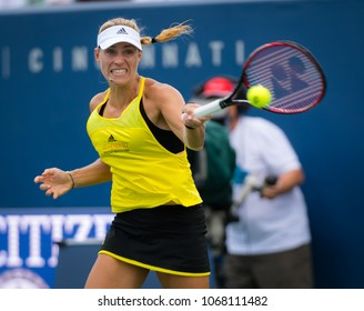 CINCINNATI, UNITED STATES - AUGUST 16 : Angelique Kerber of Germany at the 2017 Western & Southern Open WTA Premier 5 tennis tournament