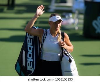 CINCINNATI, UNITED STATES - AUGUST 18 : Caroline Wozniacki of Denmark at the 2017 Western & Southern Open WTA Premier 5 tennis tournament