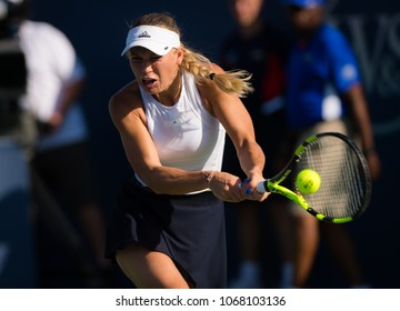 CINCINNATI, UNITED STATES - AUGUST 18 : Caroline Wozniacki of Denmark at the 2017 Western & Southern Open WTA Premier 5 tennis tournament