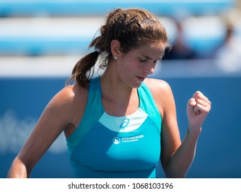 CINCINNATI, UNITED STATES - AUGUST 18 : Julia Goerges of Germany at the 2017 Western & Southern Open WTA Premier 5 tennis tournament