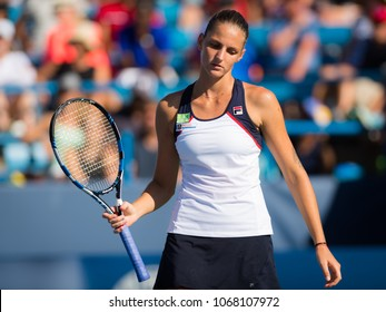 CINCINNATI, UNITED STATES - AUGUST 18 : Karolina Pliskova of the Czech Republic at the 2017 Western & Southern Open WTA Premier 5 tennis tournament