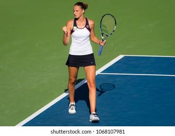 CINCINNATI, UNITED STATES - AUGUST 18 : Karolina Pliskova of the Czech Republic at the 2017 Western & Southern Open WTA Premier 5 tennis tournament