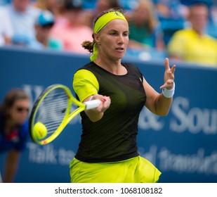 CINCINNATI, UNITED STATES - AUGUST 18 : Svetlana Kuznetosva of Russia at the 2017 Western & Southern Open WTA Premier 5 tennis tournament