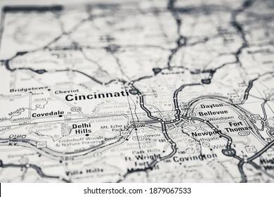 Cincinnati USA travel map background