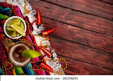 Cinco De Mayo Background With Frosty Mexican Beer and Limes