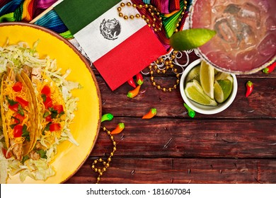 Cinco De Mayo Background with Margarita and Tacos