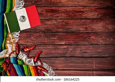 Cinco De Mayo Background with Mexican Flag and Copyspace