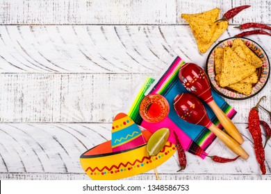 Cinco de Mayo celebration background. 5th May Mexican party. Copy space