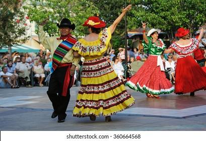 CINCO DE MAYO FESTIVAL FLORIDA USA - CIRCA 2014 - Cinco De Mayo Festival dancers performing in the town square of The Villages in Florida USA