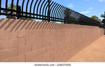 Cinder Block Wall With Anti-Climb Security