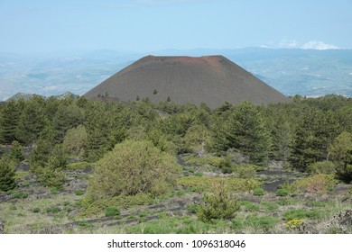 cinder cones of Mount Nuovo in Etna Park, Sicily