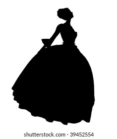 Cinderella illustration silhouette on a white background