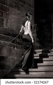 Cinderella wearing an evening dress