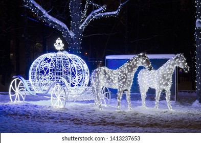 Cinderella's horse carriage, a festive park decoration