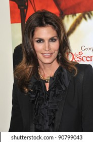 """Cindy Crawford at the Los Angeles premiere of """"The Descendants"""" at the Samuel Goldwyn Theatre in Beverly Hills. November 15, 2011  Beverly Hills, CA Picture: Paul Smith / Featureflash"""