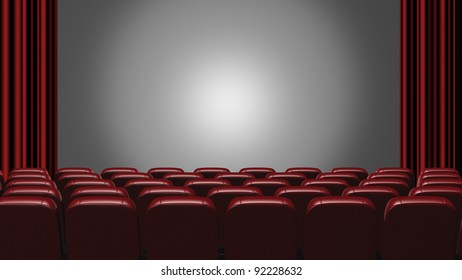 Cinema auditorium. 3d rendering. View on the screen