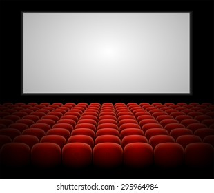 Cinema auditorium with red seats and blank screen