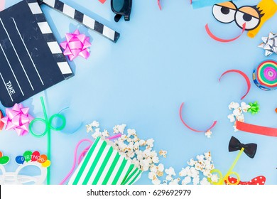 cinema birthday and party concept.Flat lay.Frame. Border