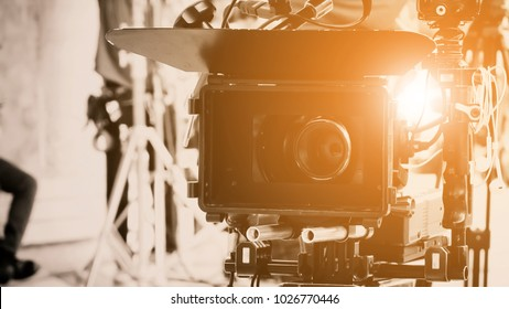 Cinema Camera on Film Set, Behind the scenes