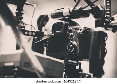 Cinema Camera on Film Set, Behind the scenes background, film crew production