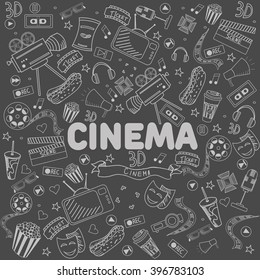 Cinema chalk line art design raster illustration. Separate objects. Hand drawn doodle design elements.
