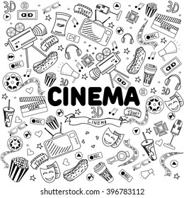 Cinema coloring book line art design raster illustration. Separate objects. Hand drawn doodle design elements.