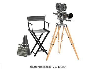 Cinema concept. Movie camera with film reels, chair, megaphone and clapperboard. 3D rendering isolated on white background