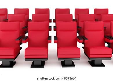 cinema, empty hall, red armchair, white background
