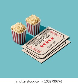 Cinema and entertainment: popcorn boxes and big movie theater tickets