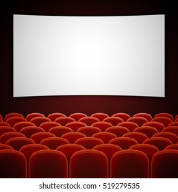 Cinema movie hall with white blank screen. Empty interior for presentation new film. illustration