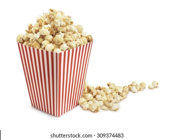 Cinema popcorn on a white background with clipping path
