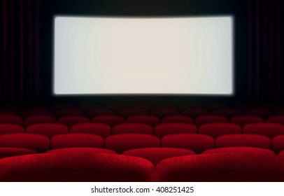 Cinema screen and red seats