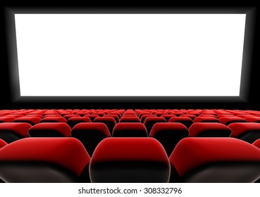Cinema or theater screen and stage with row of seats.
