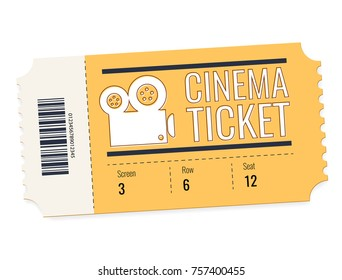 cinema ticket isolated on white background. Realistic front view illustration. Cinema Ticket Card modern element design. Creative concept of cinema admit one made of yellow paper