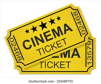 cinema tickets isolated on white background