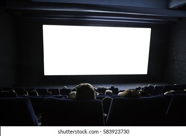 cinema white screen with seats and people silhouettes