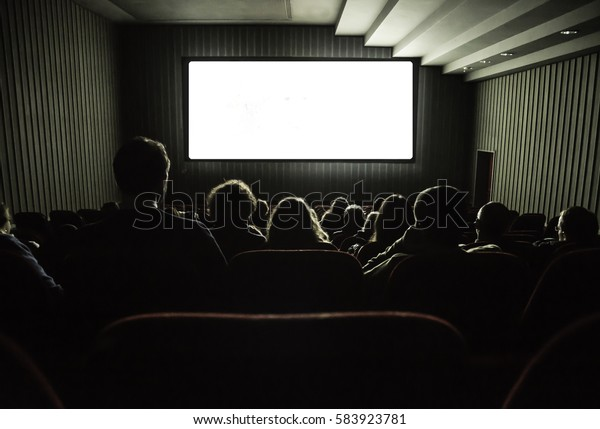 Cinema White Screen Seats People Silhouettes Stock Photo Edit Now 583923781
