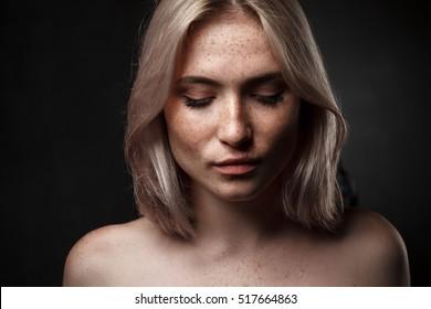 cinematic photo of sexy girl in dark studio