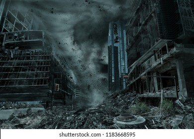 A cinematic portrayal of a city destroyed by a typhoon, hurricane or tornado twister. Concept of nature's destruction of a fictitious disaster scene.
