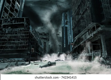 Cinematic portrayal of a city destroyed by a typhoon or hurricane landfall and bringing with it a storm surge. 3D rendering of elements in this cityscape to resemble a fictitious disaster scene.