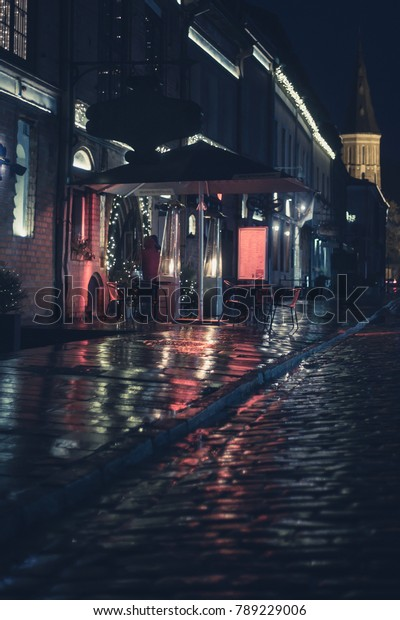 Cinematic Street Photography Shot Colorful Lights Stock
