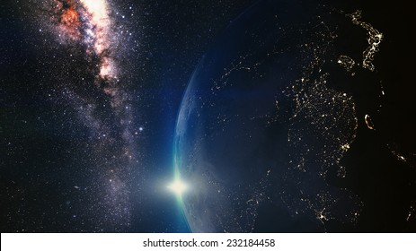 Cinematic and very realistic sunset seen from space Elements of this image furnished by NASA